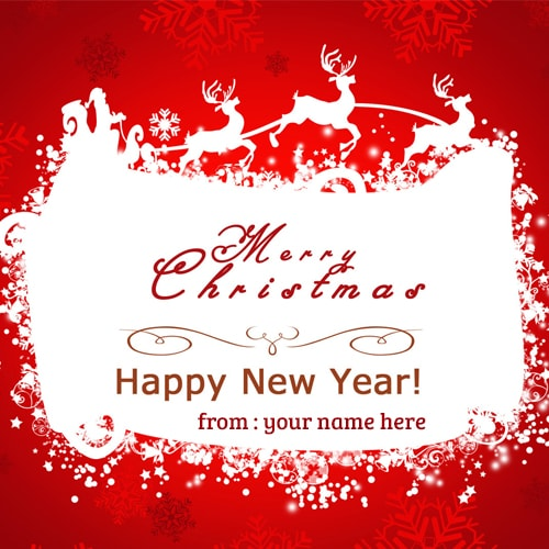 write name on merry christmas happy new year wishes cards