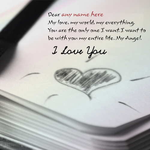 write name on my love my word quotes images free
