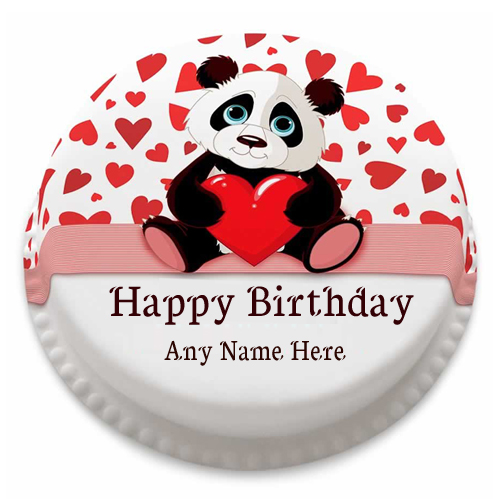 write name on panda Birthday cake with name edit