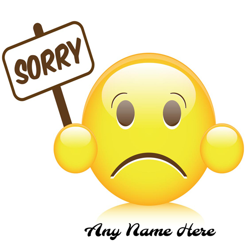 write name on sorry emoji greeting card pic for free
