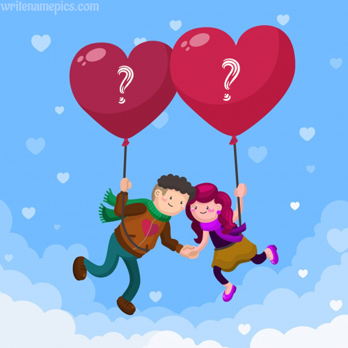 write your alphabet on love couple with balloons pic for free