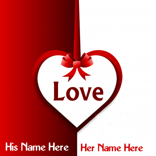 write your couple name on beautiful love heart greeting cards image