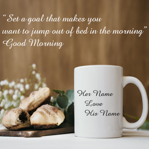 write your couple name on good morning wishes card
