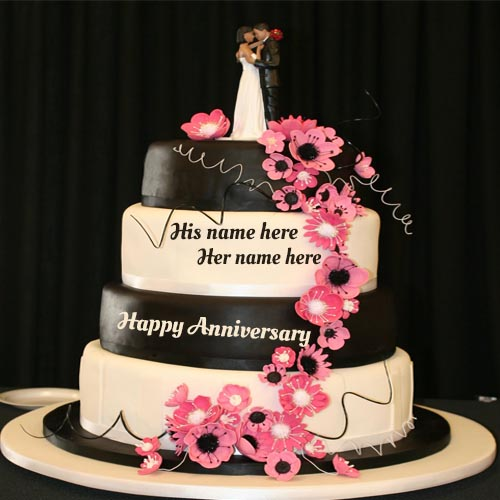 Write Your Couple Name On Happy Wedding Anniversary Cake Pic