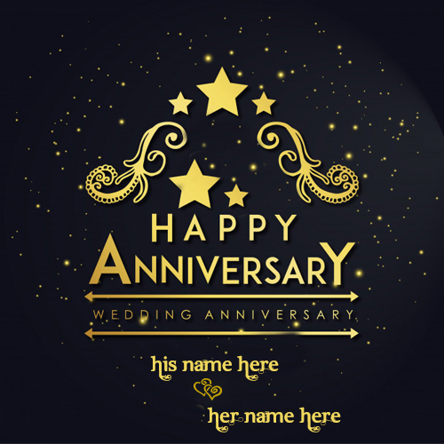 Write Your Couple Name On Happy Wedding Anniversary Cards Pic