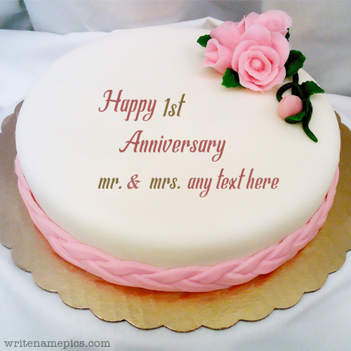 write your name and marriage year on happy anniversary cake