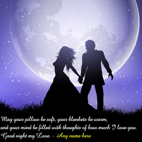 write your name on good night wishes for love pic