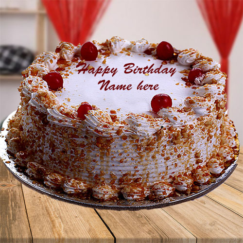 write your name on happy birthday cherry cake pic