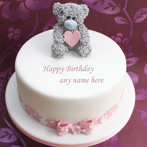 write your name on happy birthday cute teddy bear cake pic